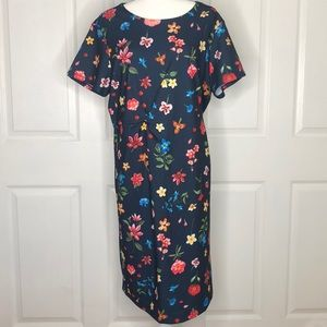 NWT tahari navy floral printed Dress